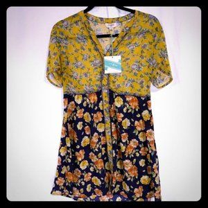 NWT Umgee Yellow and Blue Floral Button Down Dress